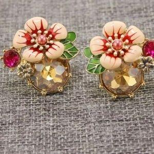 Crystal Flower Enamel Clip On Earrings Gold Plated